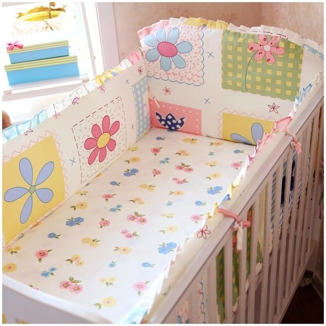 Promotion! 6PCS Baby Cot Bedding Set Newborn Cartoon Crib Bedding