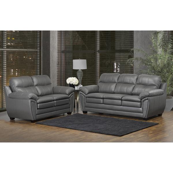 Shop Marcus Premium Grey Top Grain Leather Sofa and Loveseat Set