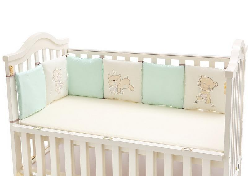100% Cotton Crib Bumpers For Baby Embroidered Bear Soft Pad Children