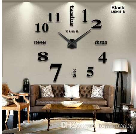 2018 New Home Decoration Big Mirror Wall Clock Modern Design 3D DIY