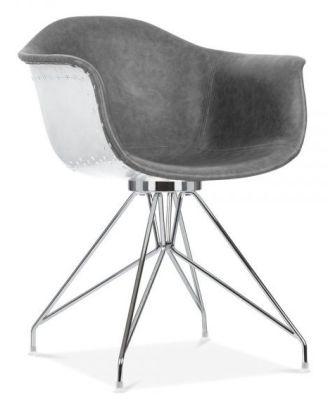 Designer Grey Leather Chair - Memot Aviator Chrome - Online Reality