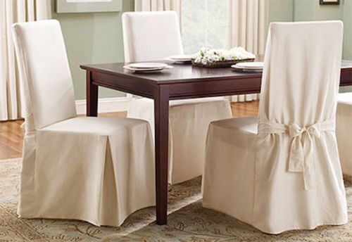 Sure Fit Cotton Duck Long Dining Room Chair Slipcover for sale