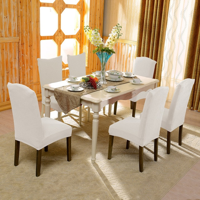 Subrtex 4 PCS Jacquard Stretch Dining Room Chair Slipcovers with