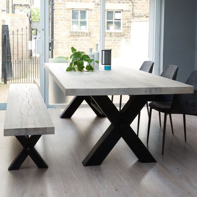 From Stock: Rustik Wood & Metal Dining Table, Cross-Frame Leg in