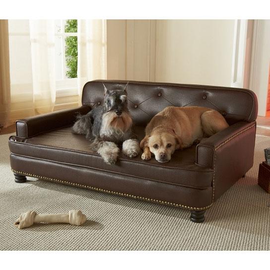 Encantado Espresso Dog Sofa Bed | Luxury Dog Beds at GlamourMutt.com