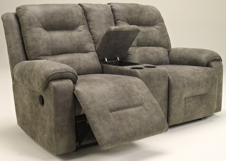 Signature Design by Ashley Rotation Smoke Double Reclining Loveseat