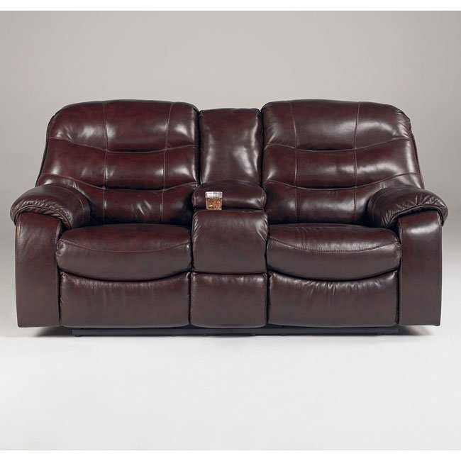 Rourke - Burgundy Double Reclining Loveseat W/ Console Signature