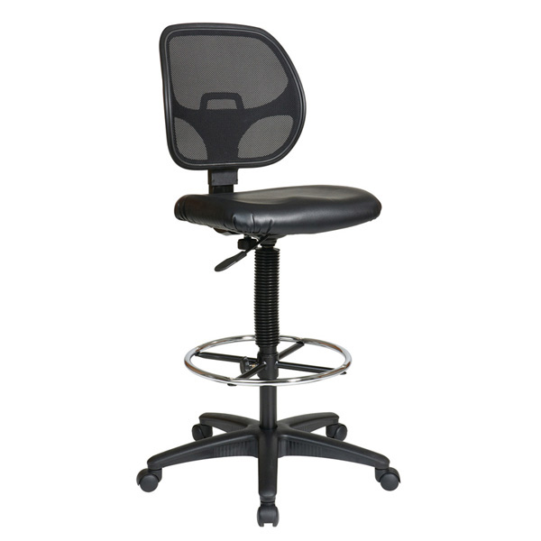 Deluxe Mesh Back Drafting Chair with Black Vinyl Seat | OFD