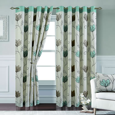 Paloma Duck Egg Lined Curtains | Chiltern Mills