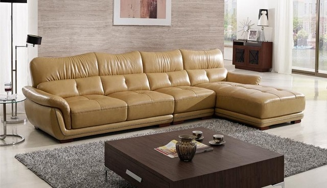 Free Shipping Modern Design Sofa , Yellow Top grain Cattle Leather