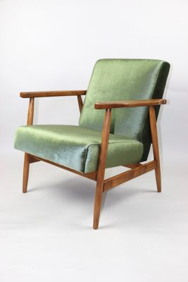 Vintage Green Velvet Easy Armchair, 1970s for sale at Pamono