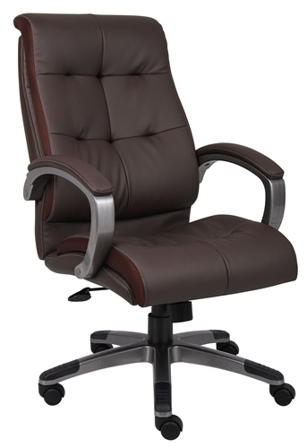 Boss Executive High Back Black or Brown Leather Plus Office Chair