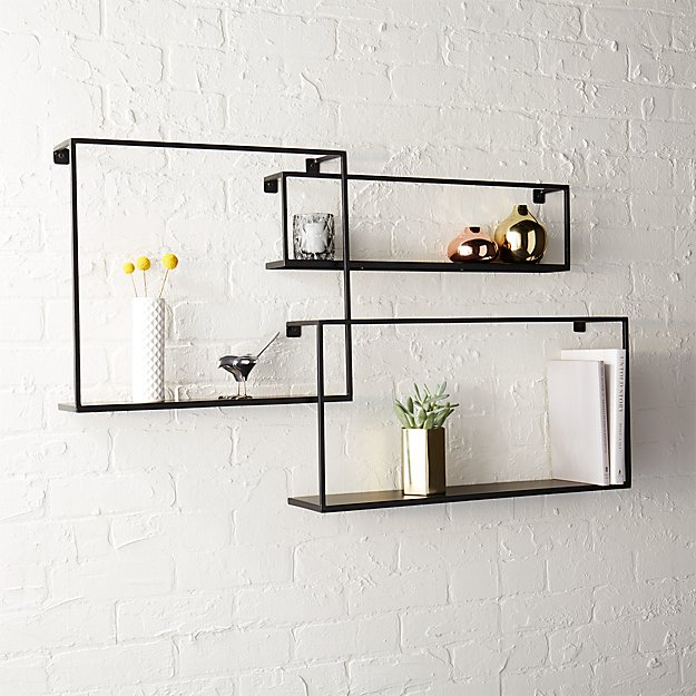 set of 3 iron floating shelves + Reviews | CB2