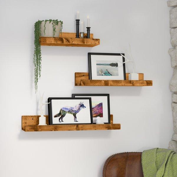 Loon Peak Atterberry Rustic Luxe 3 Piece Floating Shelf Set