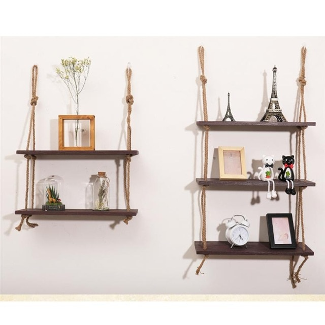 Wooden Hanging Shelf Swing Rope Floating Shelves 3 Tier Jute Rope