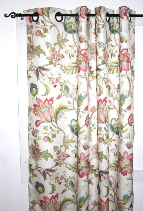 Brissac Jacobean Floral Print Lined Grommet Top Panel Window Curtain