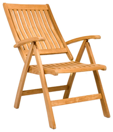 Marley Reclining Folding Chair - Outdoor Teak - Contemporary