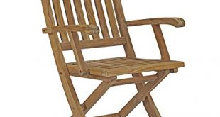 Amazon.com : Modway Marina Teak Wood Outdoor Patio Folding Armchair