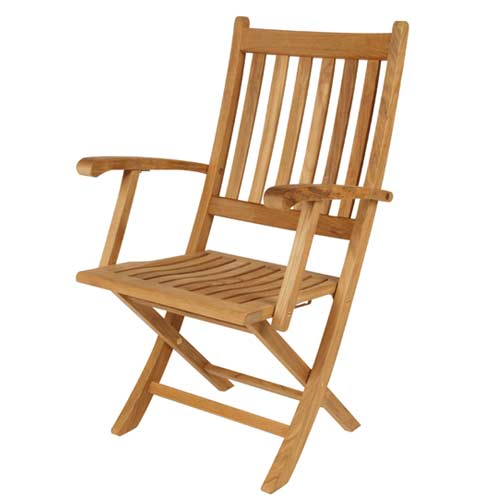 Ascot Folding Teak Armchair by Barlow Tyrie