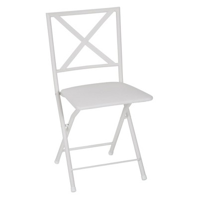 4pc Back Metal Folding Dining Chair With Vinyl Seat White - Cosco