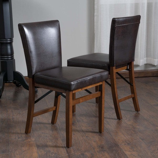 Shop Lane Bonded Leather Folding Dining Chair (Set of 2) by