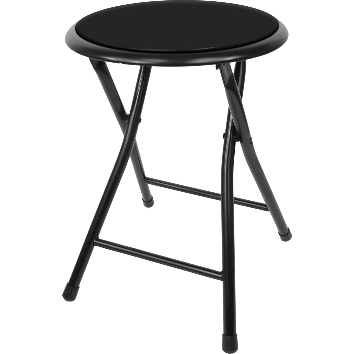 Folding Stool u2013 Heavy Duty 18-Inch Collapsible Padded Round Stool
