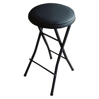 Folding Vinyl Counter Stool Black - Plastic Dev Group : Target