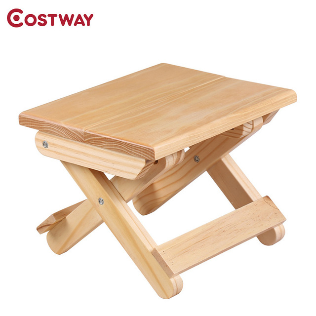 COSTWAY Portable Simple Wooden Folding Stool Outdoor Fishing Chair