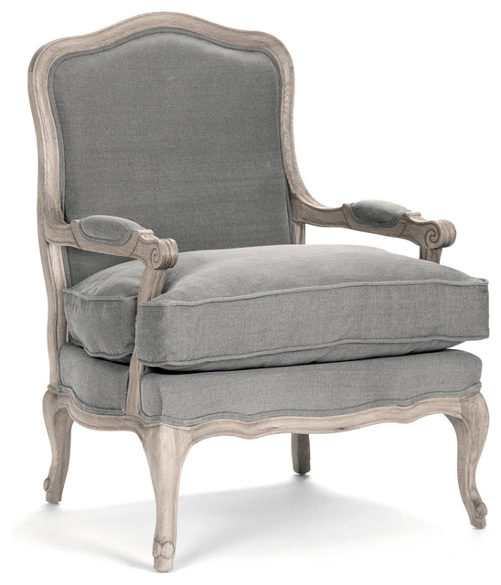 French Country Bastille Dark Gray Linen Salon Armchair - Traditional