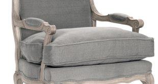 French Country Bastille Dark Gray Linen Salon Armchair - Traditional