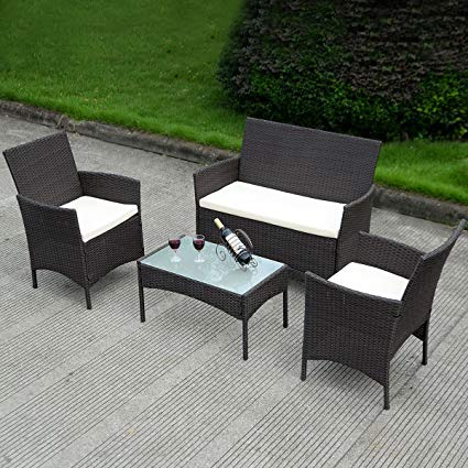 Amazon.com: Costway 4 PC Patio Rattan Wicker Chair Sofa Table Set