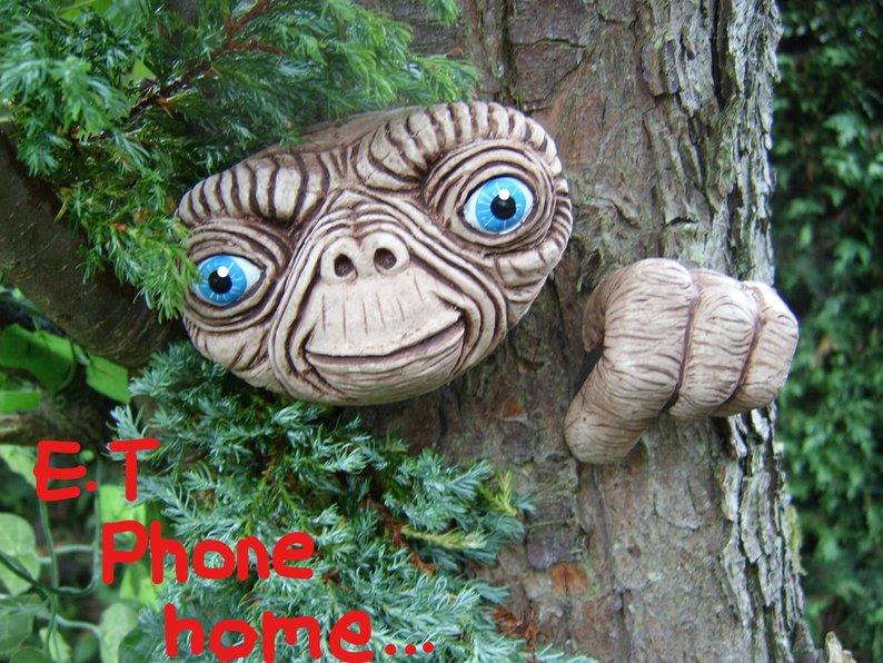 E.T Tree Face. gift idea. Outdoor sculptures statues garden