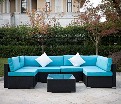 Amazon.com : Outdoor Rattan Patio Garden Furniture PE Wicker Sofa w