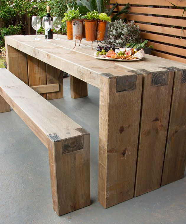 How to create an outdoor table and benches | Garden | Pinterest