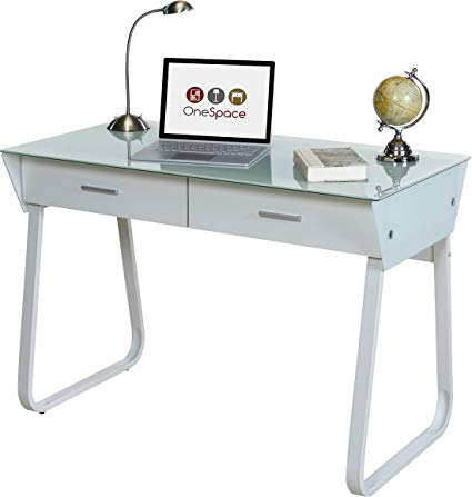 Amazon.com: OneSpace Ultramodern Glass Computer Desk with Drawers