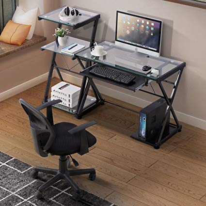 Amazon.com: Mecor Glass Computer Desk Laptop Table Metal X-Frame