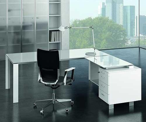 Glass Executive Office Desk Pure white glass | Office space