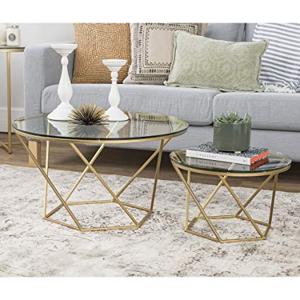 Amazon.com: WE Furniture Geometric Glass Nesting Coffee Tables