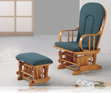 Country Oak Glider Rocker / Ottoman, Rocking Chairs Coaster 4543