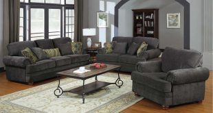 Coaster Traditional Grey Chenille Sofa Couch Loveseat Accent Arm Chair
