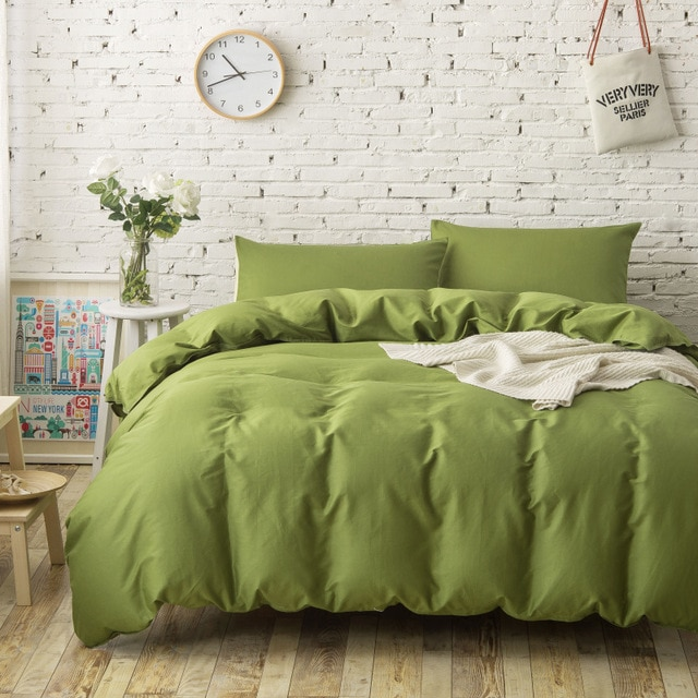 4PC 100% Cotton plain solid color bedding sets army green duvet