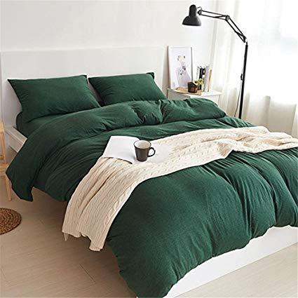 Amazon.com: YAMFEI Luxury Jersey Cotton Solid Emerald Green Duvet