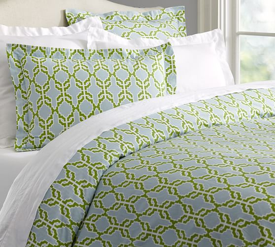 Shay Organic Duvet Cover & Sham - Blue/Green | Pottery Barn