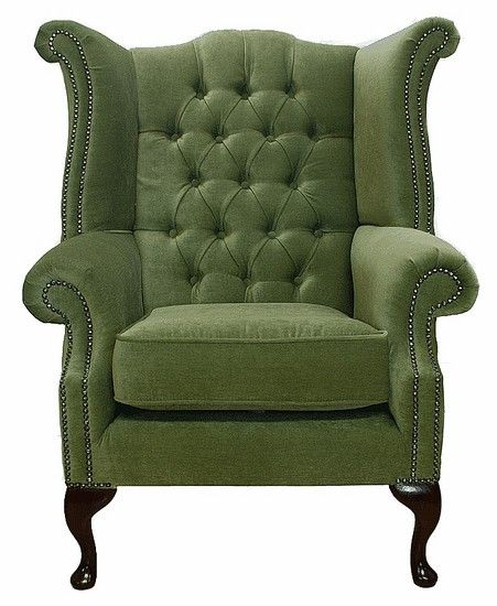 Albury Wing Chair Sage Green, Leather Sofas, Traditional Sofas