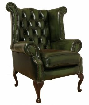 green library sofa | Large Scale Vintage Leather Wingback Chair and