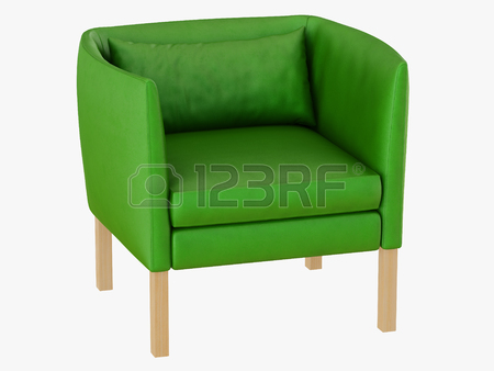 Green Leather Armchair 3d Rendering On A White Background Stock