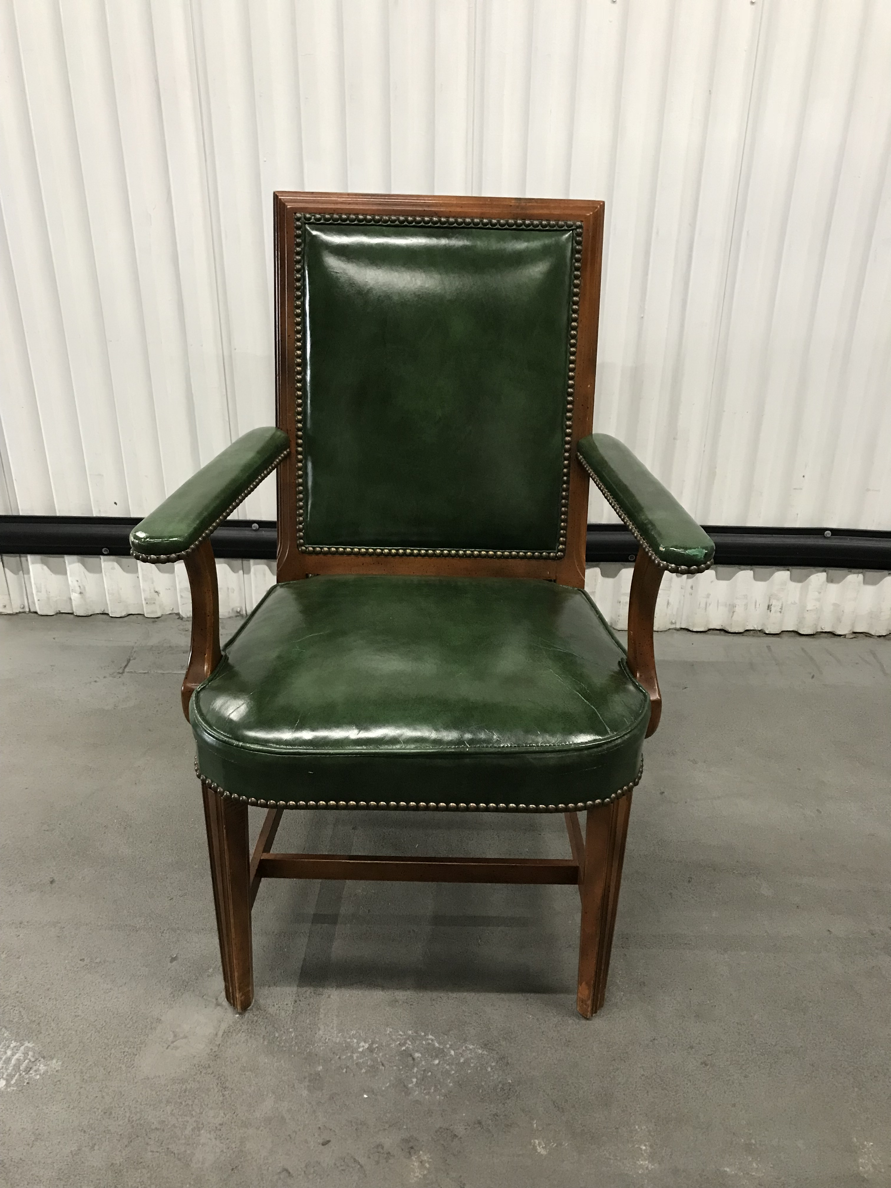 Vintage Kelly Green Leather Armchair With Brass Tacks | Chairish