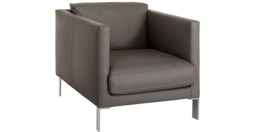 NEWMAN Armchairs Armchair Grey Leather - Habitat