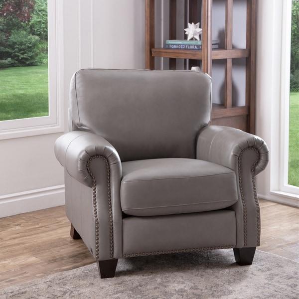 Shop Abbyson Landon Top Grain Leather Armchair - On Sale - Free