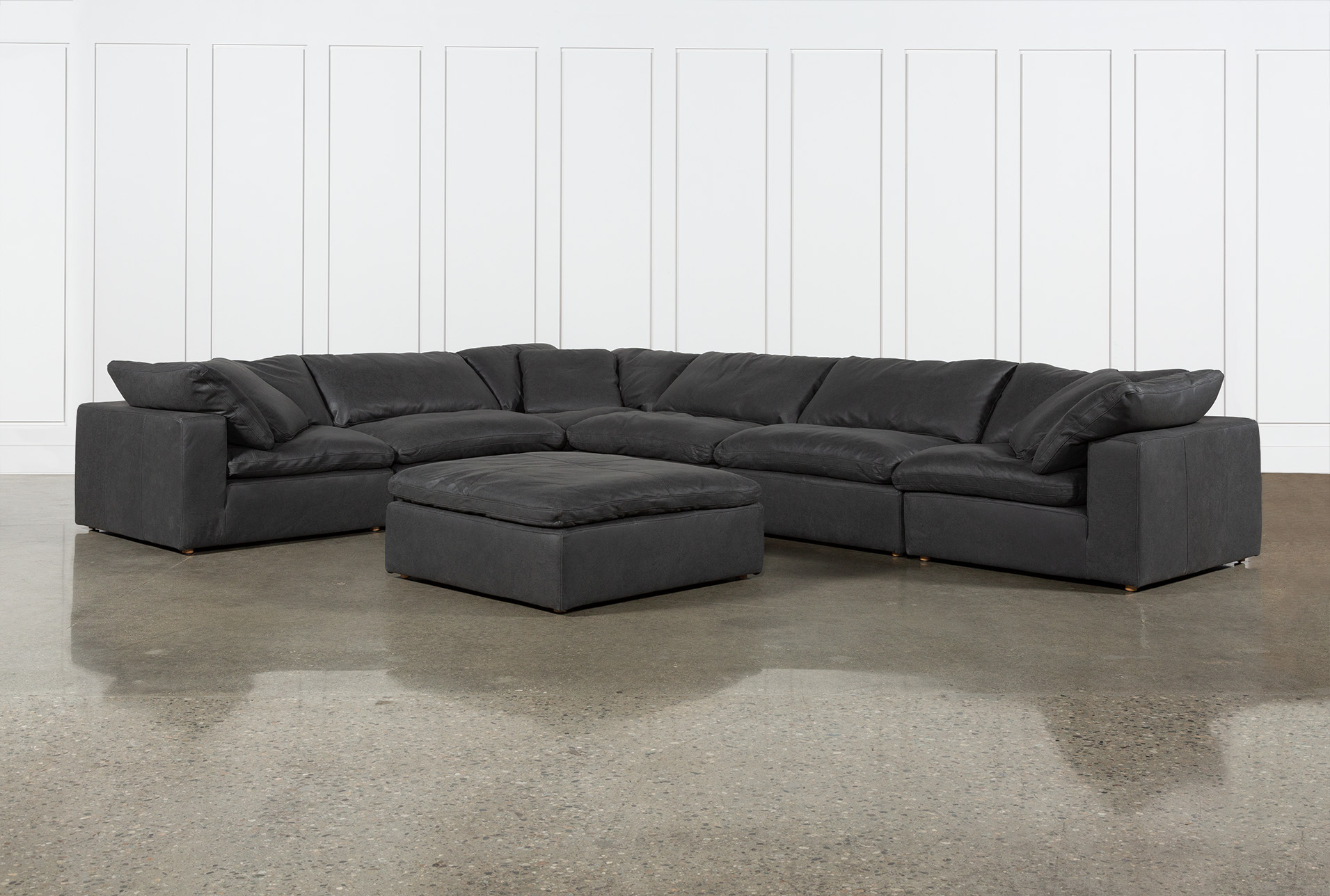 Hidden Cove Grey Leather 7 Piece Sectional With Ottoman | Living Spaces